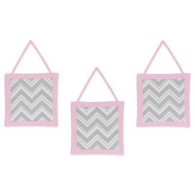Sweet Jojo Designs Zig Zag 3-Piece Wall Hanging Set in Pink/Grey