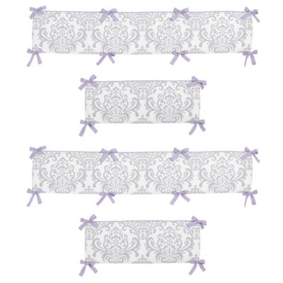 Sweet Jojo Designs Elizabeth Crib Bumper in Lavender and Grey