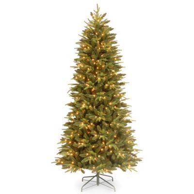National Tree Feel-Real® 7-Foot 6-Inch Slim Pomona Pine Pre-Lit Christmas Tree with Clear Lights
