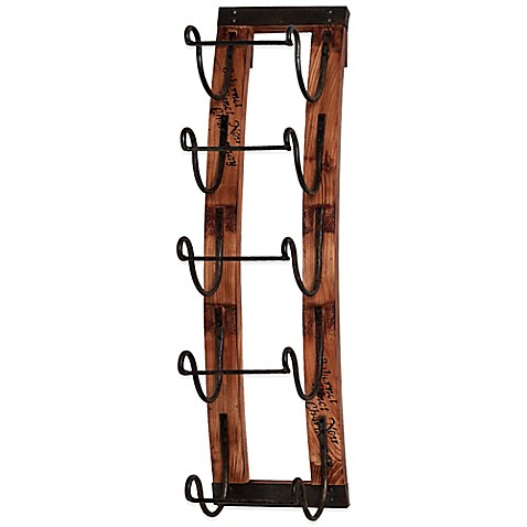 How To Buy Wall Mounted Wine Rack : ... wine rack crafted of wood and metal this rustic yet chic hanging wine