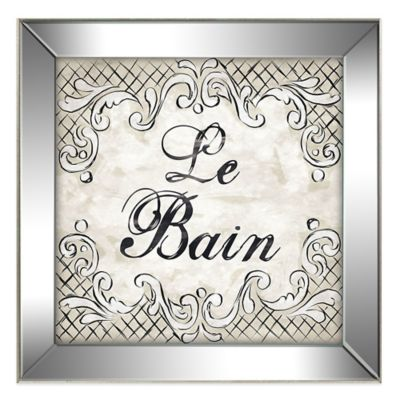 Le Bain Wall Art with Glittered Mirror Frame in Black