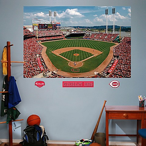 Buy fathead mlb cincinnati reds stadium mural wall for Baseball stadium wall mural