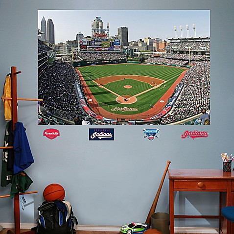 Fathead mlb cleveland indians stadium mural wall graphic for Baseball field mural