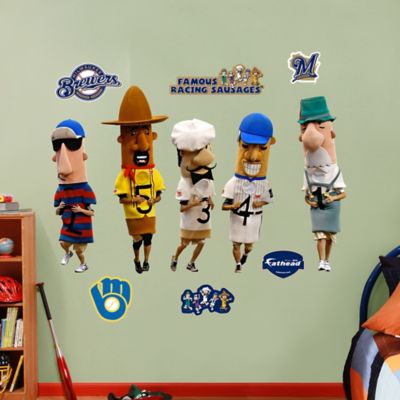 Fathead MLB Milwaukee Brewers Racing Sausages Mascot Wall Graphic