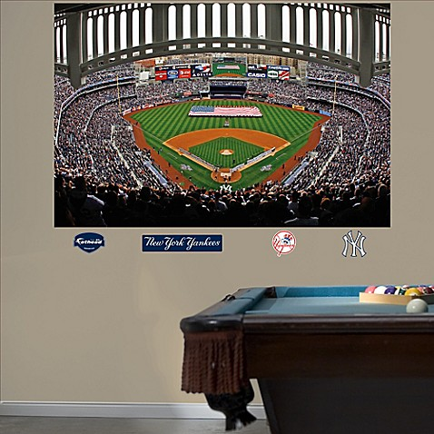 Buy fathead mlb new york yankees flag stadium mural wall for Baseball stadium wall mural