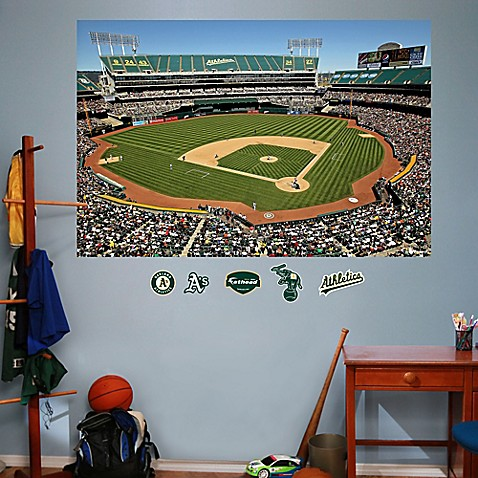 Buy fathead mlb oakland athletics stadium mural wall for Baseball field wall mural