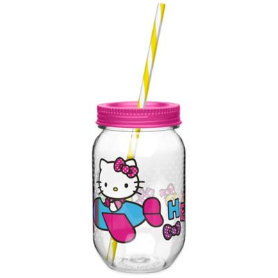 Zak! Designs® Hello Kitty® 19-Ounce Tritan Canning Jar Tumbler with Straw