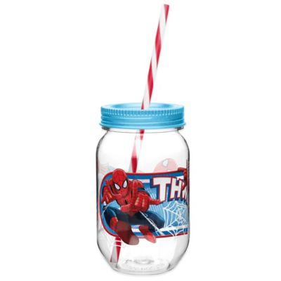 Zak! Designs® Marvel® Spider-Man 19-Ounce Tritan Canning Jar Tumbler with Straw
