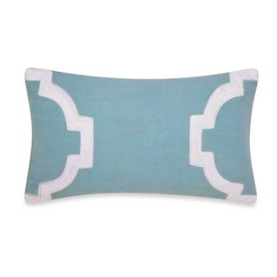 Jill Rosenwald Newport Gate Embroidered Oblong Throw Pillow in Mint Green