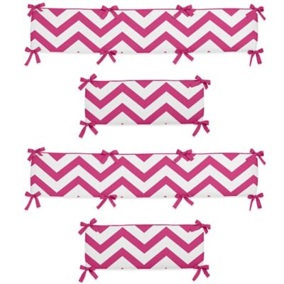 Sweet Jojo Designs Chevron Crib Bumper in Pink and White