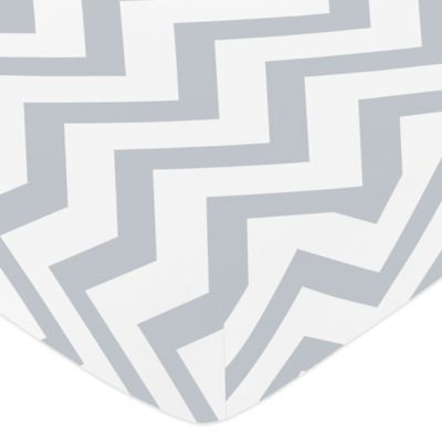 Sweet Jojo Designs Chevron Fitted Crib Sheet in Grey and White