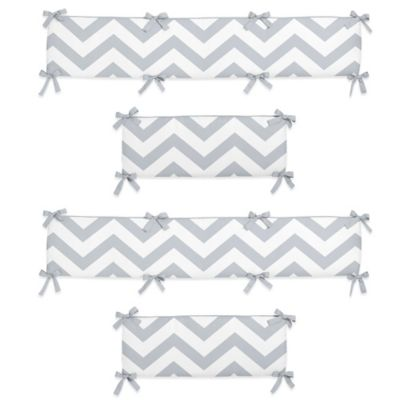 Sweet Jojo Designs Chevron Crib Bumper in Grey and White