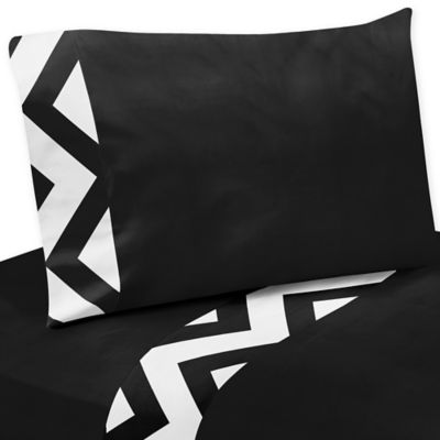 Sweet Jojo Designs Chevron 4-Piece Full/Queen Sheet Set in Black and White