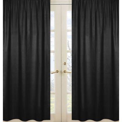 Sweet Jojo Designs Chevron Window Panel Pair in Black