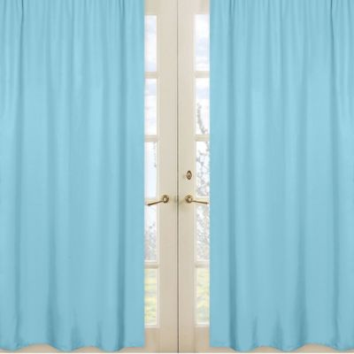 Chevron Window Panel Pair in Turquoise