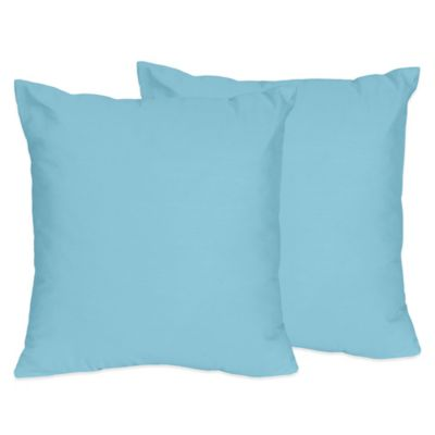 Sweet Jojo Designs Chevron Throw Pillows in Turquoise (Set of 2)