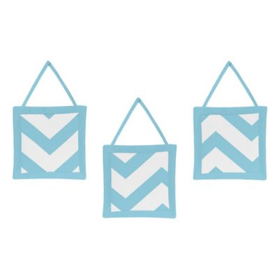 Sweet Jojo Designs Chevron 3-Piece Wall Hanging Set in Turquoise and White