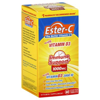 Ester-C 60-Count Immune Support 1000 mg with Vitamin D3 Tablets