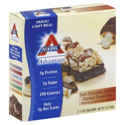 Atkins Advantage 5-Pack Dark Chocolate Almond Coconut Crunch Snack Bar