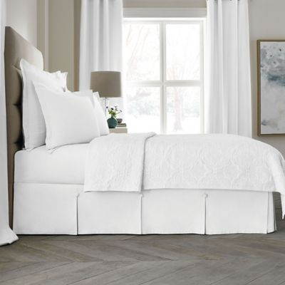 Wamsutta Collection® Button Pleated 15-Inch King Bed Skirt in White