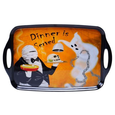 Certified International Eat, Drink and Be Scary Rectangular Tray in Black