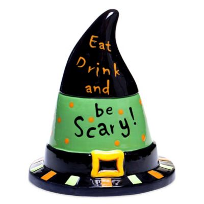 Certified International Eat, Drink and Be Scary Ceramic Witch's Hat Jar in Black