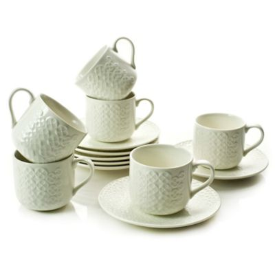 Classic Coffee & Tea Clover Leaf Teacups and Saucers in White (Set of 6)