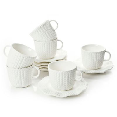 Classic Coffee & Tea Scalloped Sweater Teacups and Saucers in Matte White (Set of 6)