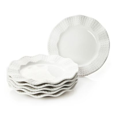 Classic Coffee & Tea Scalloped Sweater Dessert Plates in Matte White (Set of 6)