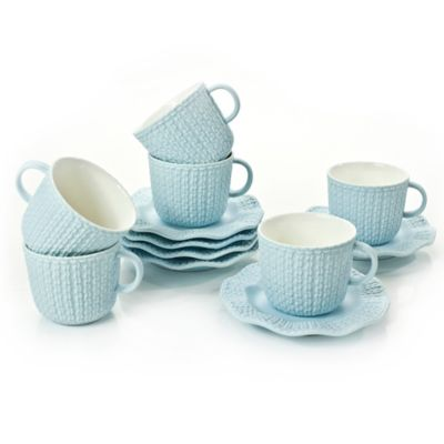 Classic Coffee & Tea Scalloped Sweater Teacups and Saucers in Matte Baby Blue (Set of 6)