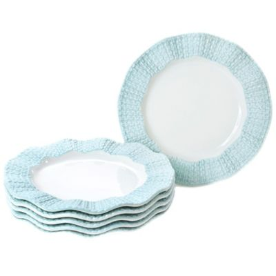 Classic Coffee & Tea Scalloped Sweater Dessert Plates in Matte Baby Blue (Set of 6)