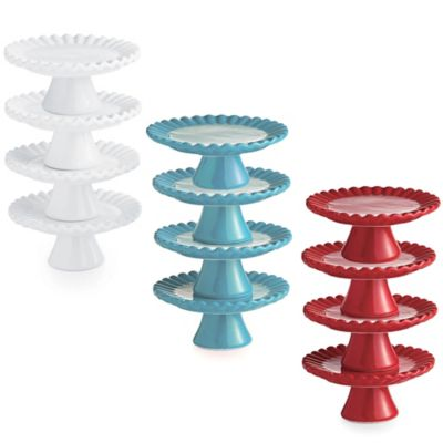 Ruffle Cupcake Pedestal Plates in White (Set of 4)