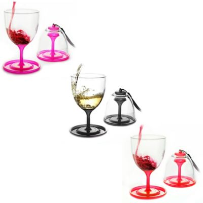 Stack N' Go Vino Wine Glasses in Black (Set of 2)