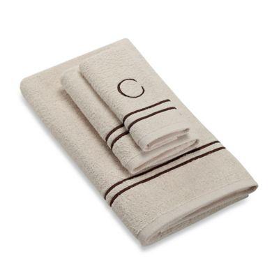"Avanti Monogram Block Letter ""C"" Hand Towel in Ivory"