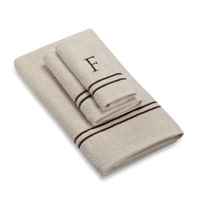 "Avanti Monogram Block Letter ""F"" Hand Towel in Ivory"