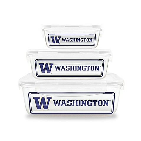University Of Washington 6 Piece Glass Food Container Set