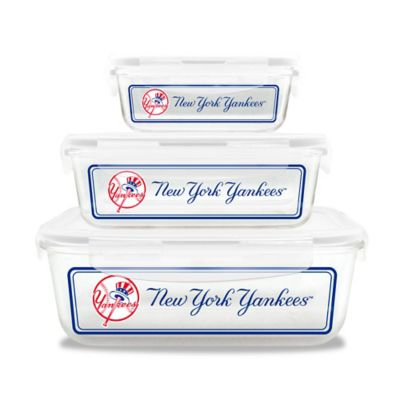 MLB New York Yankees 6-Piece Glass Food Container Set