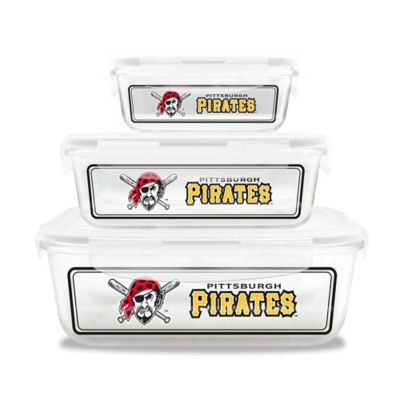 MLB Pittsburgh Pirates 6-Piece Glass Food Container Set