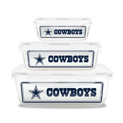 NFL Dallas Cowboys 6-Piece Glass Food Container Set