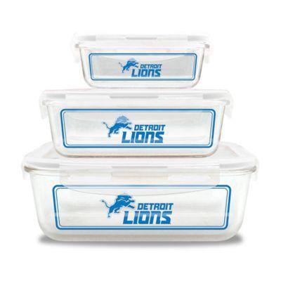 NFL Detroit Lions 6-Piece Glass Food Container Set