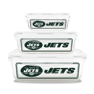 NFL New York Jets 6-Piece Glass Food Container Set