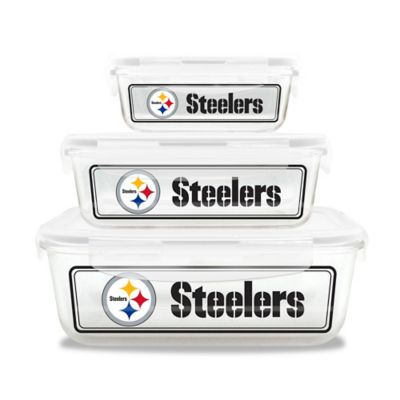 NFL Pittsburgh Steelers 6-Piece Glass Food Container Set