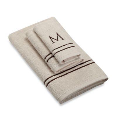 "Avanti Monogram Block Letter ""M"" Fingertip Towel in Ivory"