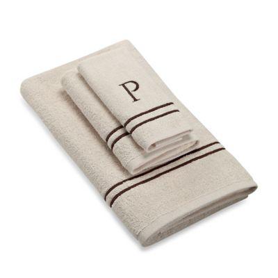 "Avanti Monogram Block Letter ""P"" Hand Towel in Ivory"