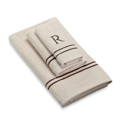 "Avanti Monogram Block Letter ""R"" Fingertip Towel in Ivory"