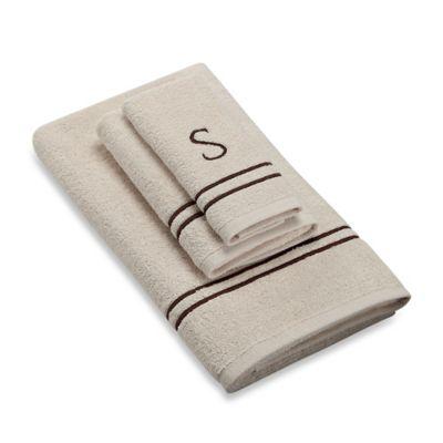 """Avanti Monogram Block Letter """"S"""" Fingertip Towel in Ivory"""