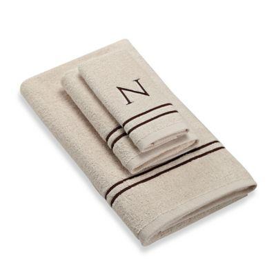 "Avanti Monogram Block Letter ""N"" Fingertip Towel in Ivory"