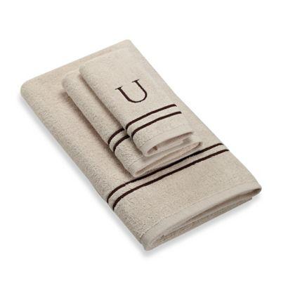 "Avanti Monogram Block Letter ""U"" Bath Towel in Ivory"