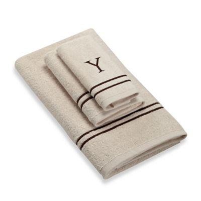 """Avanti Monogram Block Letter """"Y"""" Bath Towel in Ivory"""