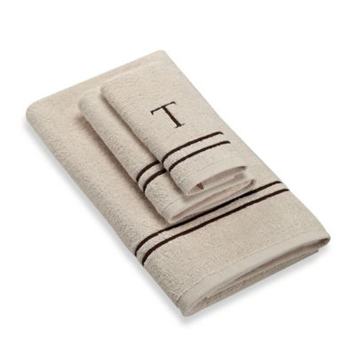 """Avanti Monogram Block Letter """"T"""" Fingertip Towel in Ivory"""